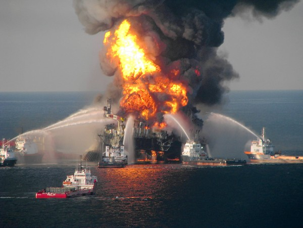 Fire boat response crews battle the blazing remnants of the Deepwater Horizon oil rig in the Gulf of Mexico on April 21, 2010.