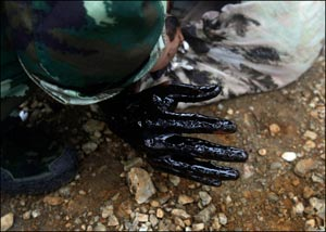 The oil covered hand of a firefighter who was overwhelmed by the thick oil spill while attempting to fix an underwater pump is seen after he he was brought to shore by his colleagues in Dalian, China on Tuesday, July 20, 2010. (AP Photo/Jiang He, Greenpeace) - [Editor's note: To clarify, the events depicted in this and the previous five photographs show firefighters Zhang Liang (top left of photo 24), Han Xiaoxiong (above) and Zheng Zhanhong (not pictured). Zhang Liang went under the water and oil, did not resurface, and drowned. The man being pulled ashore in the photo is Han Xiaoxiong.