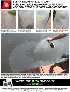 Kick the slick out of it with DE-OIL-IT. Small oil and gas slicks are common around boats and marinas. Don't just clean it up, remediate it with DE-OIL-IT.