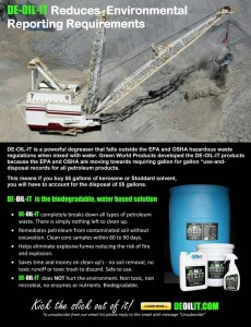 According to EPA and OSHA regulations, DE-OIL-IT is a perfect option for degreasing and cleaning at mining facilities.
