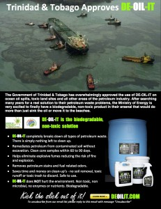 The government of Trinidad and Tobago approves the use of DE-OIL-IT on oil spills and remediation