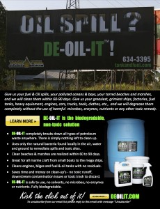 Oil Spill? Use DE-OIL-IT to clean it up!