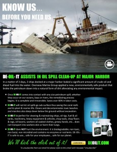 DE-OIL-IT used to treat a harbor oil spill caused when two tankers sunk in the Bahamas