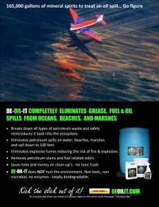 There is an alternative to the chemical hazards of dispersants, consider DE-OIL-IT as a green option for oil spill cleanup.