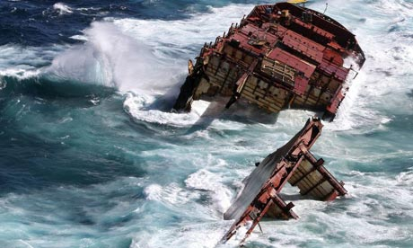 The wreck of the Rena on Astrolabe Reef. New Zealand authorities have charged the owner with offences punishable by more than £300,000 in fines. Photograph: AFP/Getty/Maritime NZ