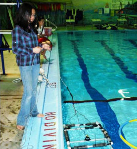 This student built ROV is simulating an ocean dive to gather data about the environment.