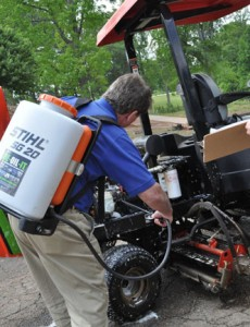 The effectiveness of DE-OIL-IT for cleaning turf equipment and golf course maintenance.