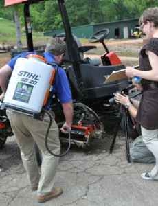 DE-OIL-IT being applied to turf equipment for the Golf Maintenance video shot in South Carolina.