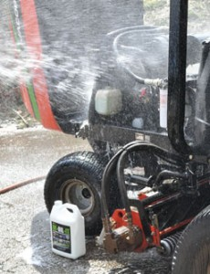 Simply spraying on DE-OIL-IT and then hosing it off removes oil and grease from turf equipment safely and without risk of contamination.