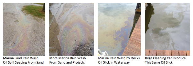 Marine wash, rain, and cleaning your boat bilge all create oil slicks on the surface of the water.