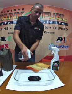 Spray DE-OIL-IT on the crude oil and allow it to begin degrading and degreasing.