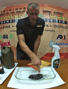 You can see how DE-OIL-IT is already working to break down the oil and degrease the container.