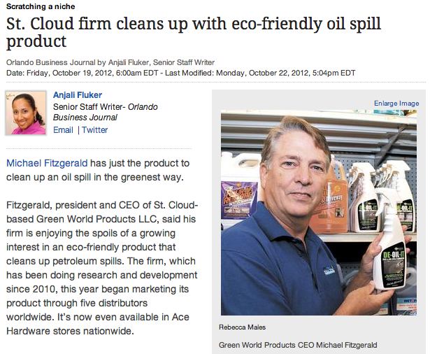 DE-OIL-IT featured in the Orlando Business Journal as a green option for oil spill cleanup.