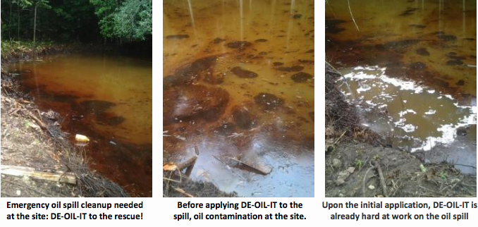 DE-OIL-IT to the rescue to remediate a land and water based oil spill